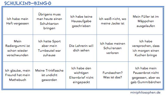 Schulkind-Bingo